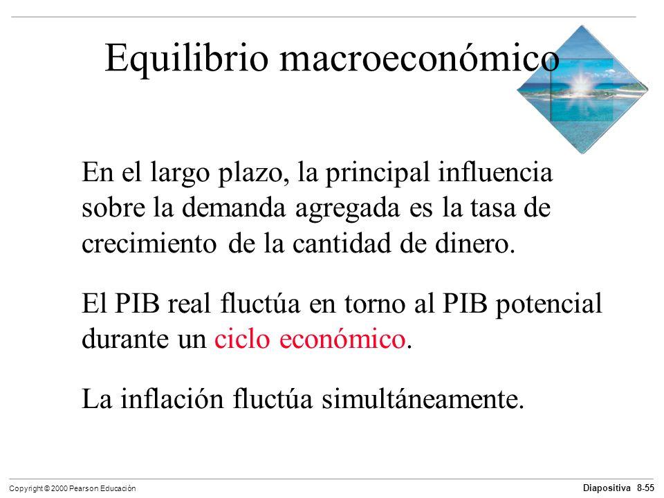 Diapositiva 8-55 Copyright © 2000 Pearson Educación Equilibrio macroeconómico En el largo plazo, la principal influencia sobre la demanda agregada es