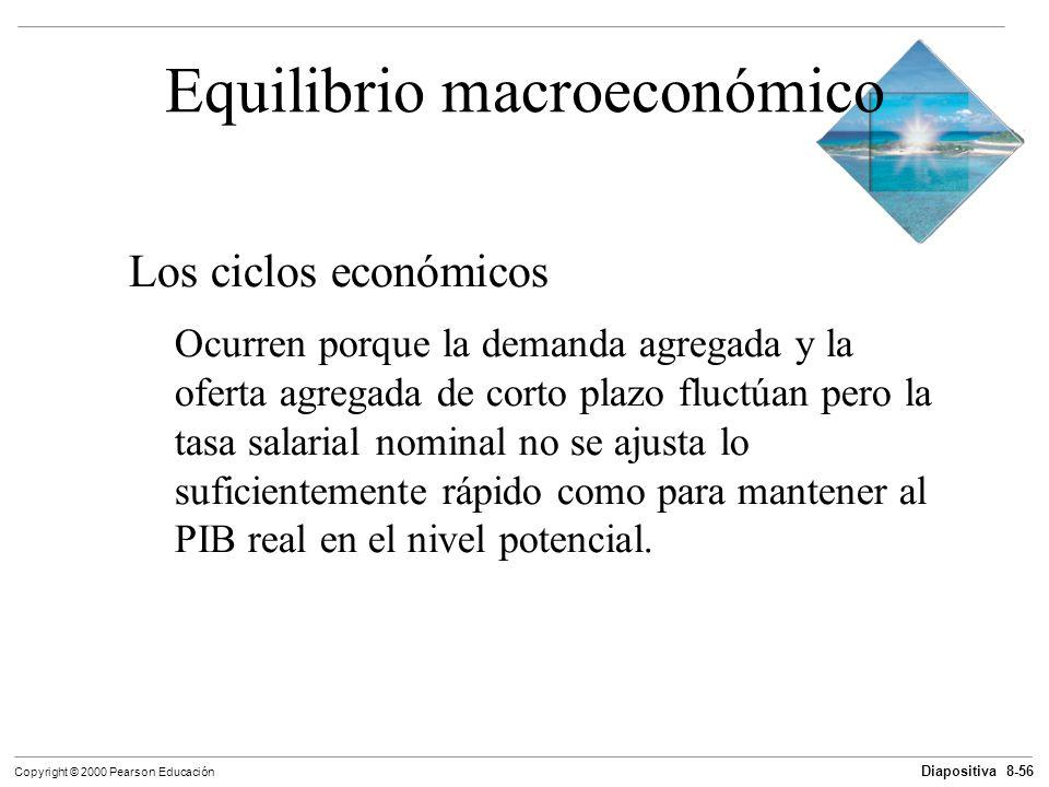 Diapositiva 8-56 Copyright © 2000 Pearson Educación Equilibrio macroeconómico Los ciclos económicos Ocurren porque la demanda agregada y la oferta agr