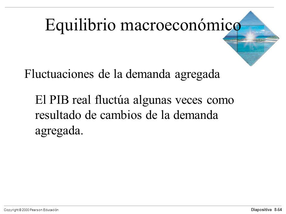 Diapositiva 8-64 Copyright © 2000 Pearson Educación Equilibrio macroeconómico Fluctuaciones de la demanda agregada El PIB real fluctúa algunas veces c