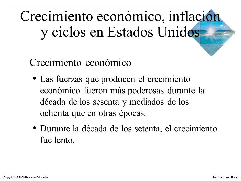 Diapositiva 8-72 Copyright © 2000 Pearson Educación Crecimiento económico Las fuerzas que producen el crecimiento económico fueron más poderosas duran
