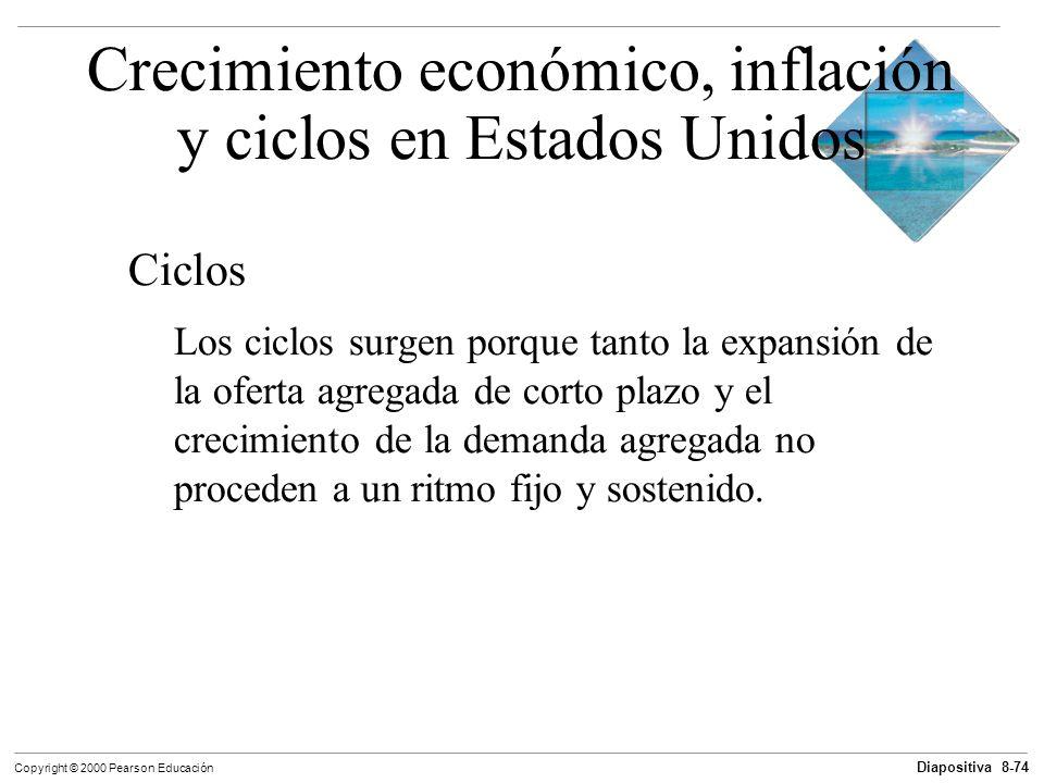 Diapositiva 8-74 Copyright © 2000 Pearson Educación Ciclos Los ciclos surgen porque tanto la expansión de la oferta agregada de corto plazo y el creci