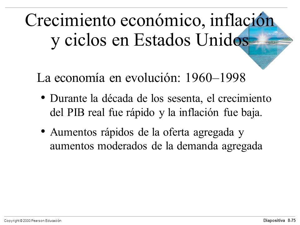 Diapositiva 8-75 Copyright © 2000 Pearson Educación La economía en evolución: 1960–1998 Durante la década de los sesenta, el crecimiento del PIB real