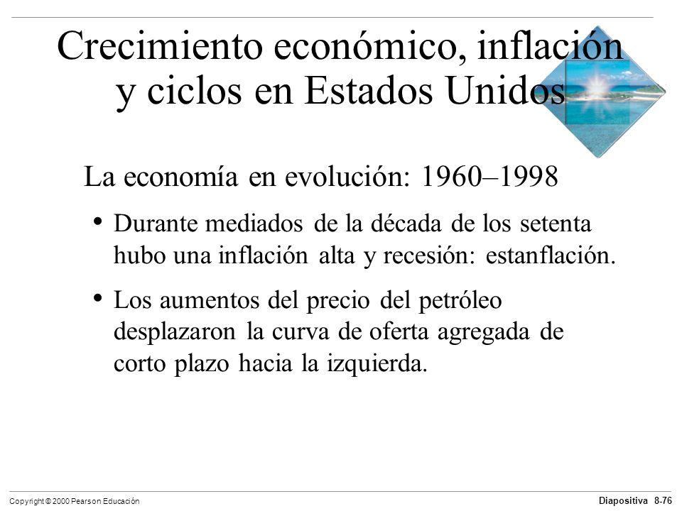 Diapositiva 8-76 Copyright © 2000 Pearson Educación La economía en evolución: 1960–1998 Durante mediados de la década de los setenta hubo una inflació