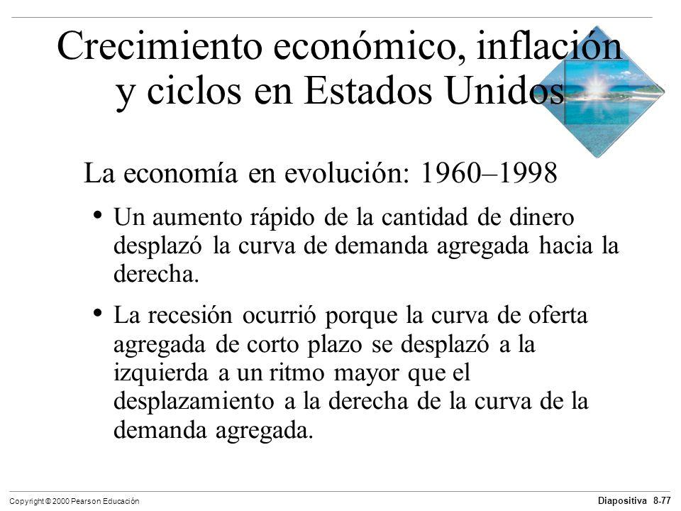 Diapositiva 8-77 Copyright © 2000 Pearson Educación La economía en evolución: 1960–1998 Un aumento rápido de la cantidad de dinero desplazó la curva d