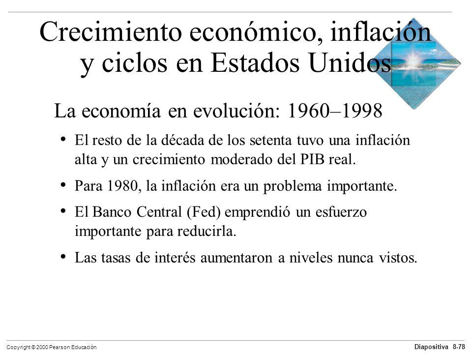 Diapositiva 8-78 Copyright © 2000 Pearson Educación La economía en evolución: 1960–1998 El resto de la década de los setenta tuvo una inflación alta y