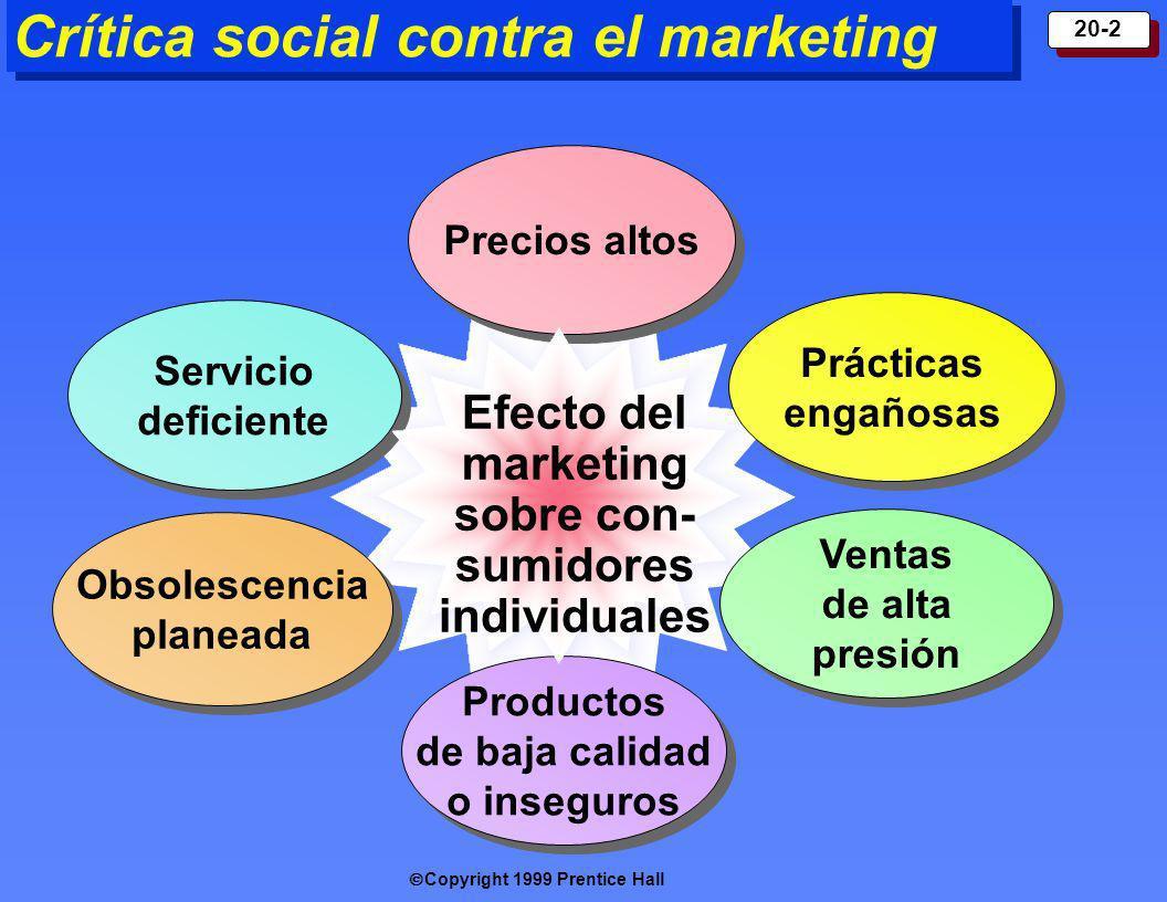 Copyright 1999 Prentice Hall 20-2 Crítica social contra el marketing Precios altos Productos de baja calidad o inseguros Servicio deficiente Prácticas