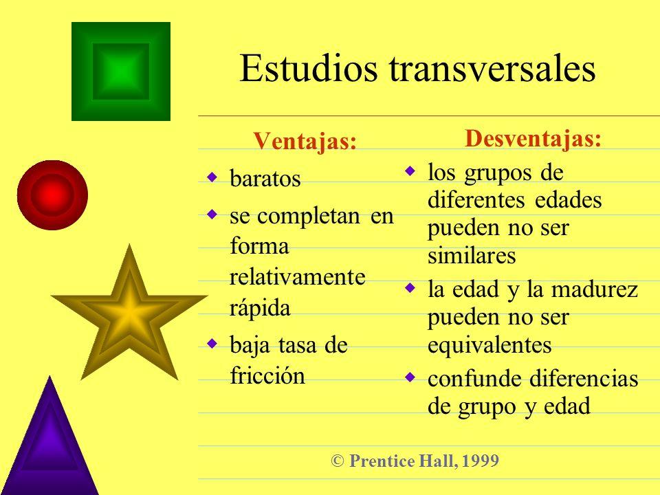 © Prentice Hall, 1999 Estudios transversales Ventajas: baratos se completan en forma relativamente rápida baja tasa de fricción Desventajas: los grupo