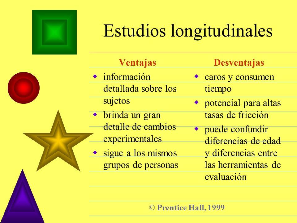 © Prentice Hall, 1999 Estudios longitudinales Ventajas información detallada sobre los sujetos brinda un gran detalle de cambios experimentales sigue