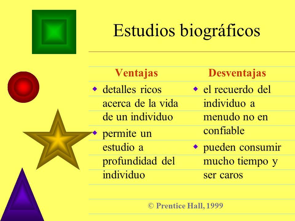 © Prentice Hall, 1999 Estudios biográficos Ventajas detalles ricos acerca de la vida de un individuo permite un estudio a profundidad del individuo De