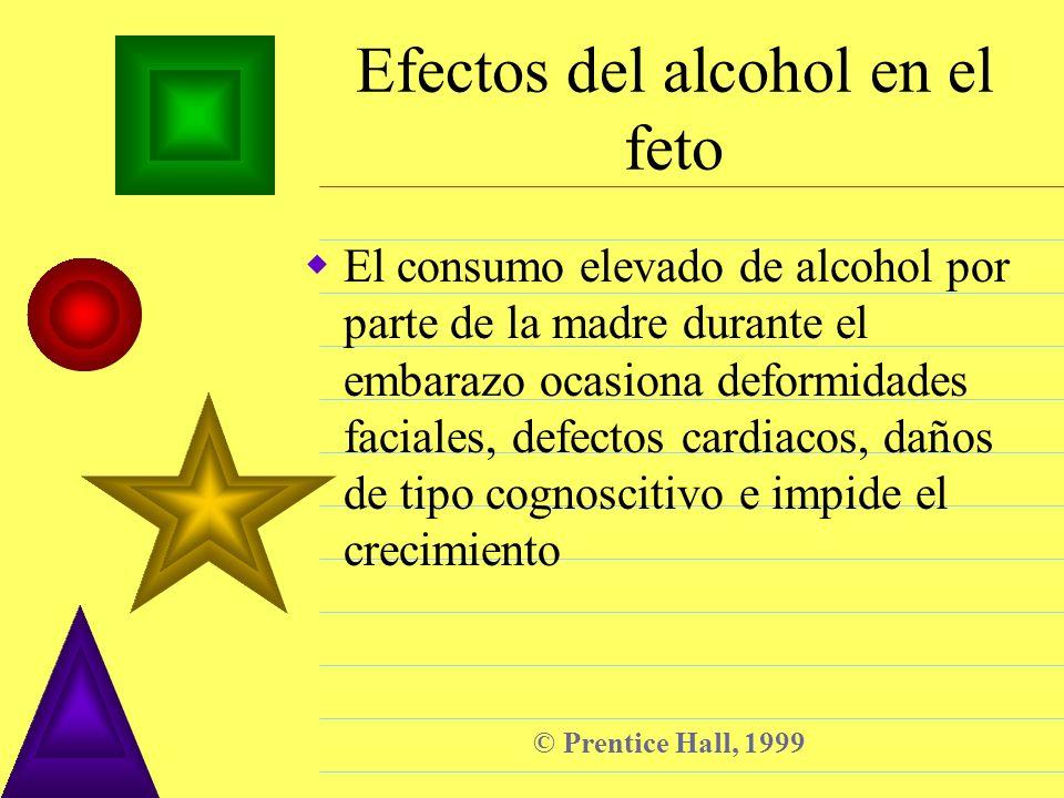 © Prentice Hall, 1999 Efectos del alcohol en el feto El consumo elevado de alcohol por parte de la madre durante el embarazo ocasiona deformidades fac