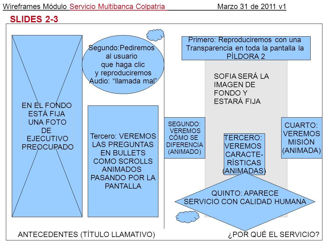 Wireframes Módulo Servicio Multibanca Colpatria Marzo 31 de 2011 v1 SLIDES 2-3 ANTECEDENTES (TÍTULO LLAMATIVO)¿POR QUÉ EL SERVICIO.