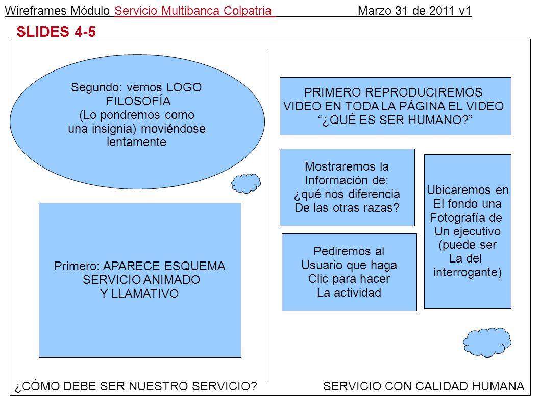 Wireframes Módulo Servicio Multibanca Colpatria Marzo 31 de 2011 v1 SLIDES 4-5 ¿CÓMO DEBE SER NUESTRO SERVICIO.