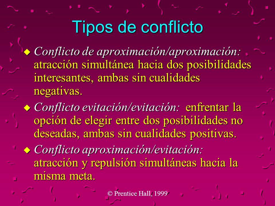© Prentice Hall, 1999 Tipos de conflicto u Conflicto de aproximación/aproximación: atracción simultánea hacia dos posibilidades interesantes, ambas si