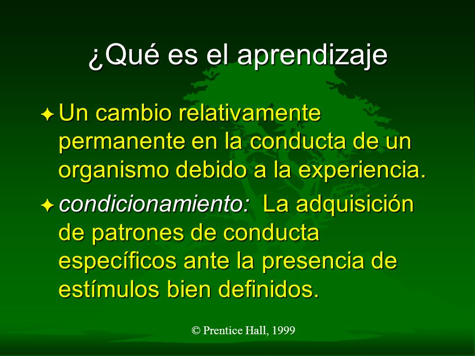 © Prentice Hall, 1999 ¿Qué es el aprendizaje F Un cambio relativamente permanente en la conducta de un organismo debido a la experiencia. F condiciona
