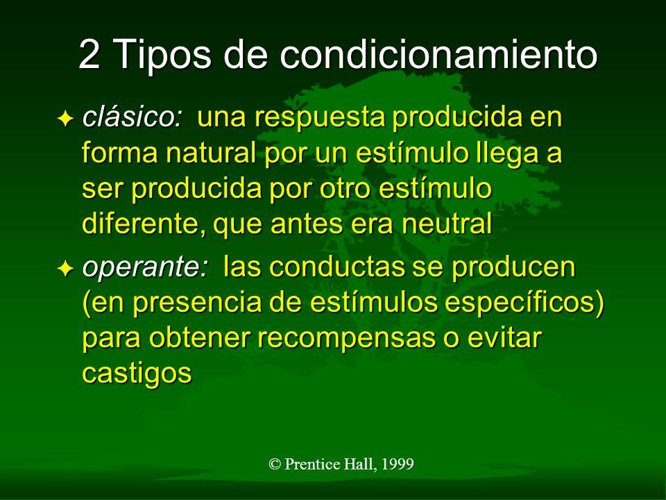 © Prentice Hall, 1999 2 Tipos de condicionamiento F clásico: una respuesta producida en forma natural por un estímulo llega a ser producida por otro e