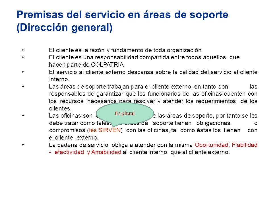 Premisas del servicio en áreas de soporte (Dirección general) El cliente es la razón y fundamento de toda organización El cliente es una responsabilid