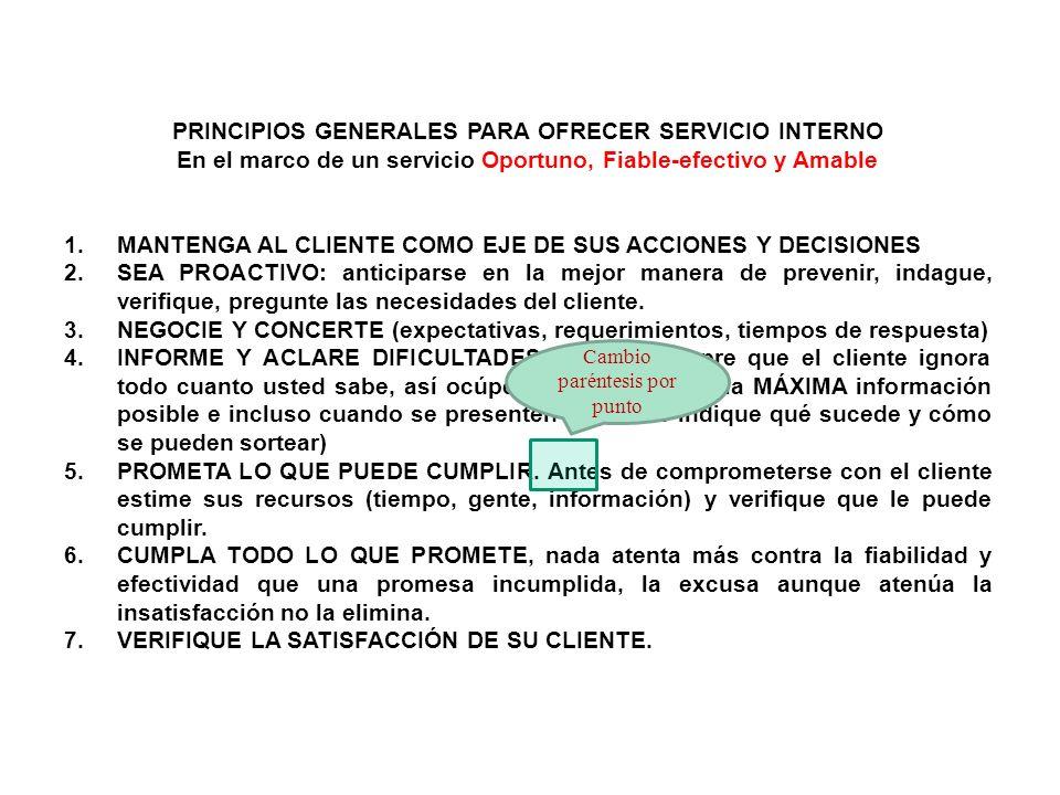 PRINCIPIOS GENERALES PARA OFRECER SERVICIO INTERNO En el marco de un servicio Oportuno, Fiable-efectivo y Amable 1.MANTENGA AL CLIENTE COMO EJE DE SUS