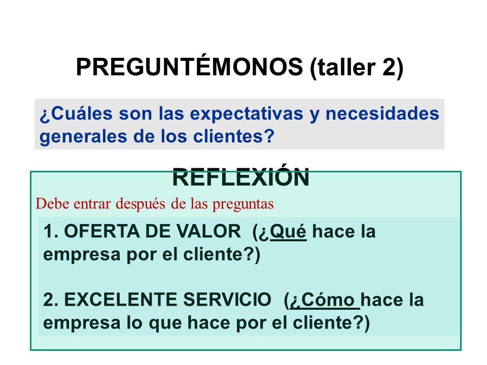 PREGUNTÉMONOS (taller 2) ¿Cuáles son las expectativas y necesidades generales de los clientes? 1. OFERTA DE VALOR (¿Qué hace la empresa por el cliente