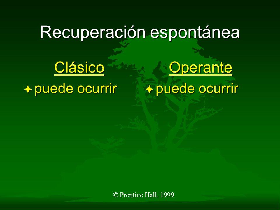 © Prentice Hall, 1999 Generalización de respuestas Clásico F estímulos similares a EC producirán RC Operante F Proporcionar diferentes respuestas a estímulos