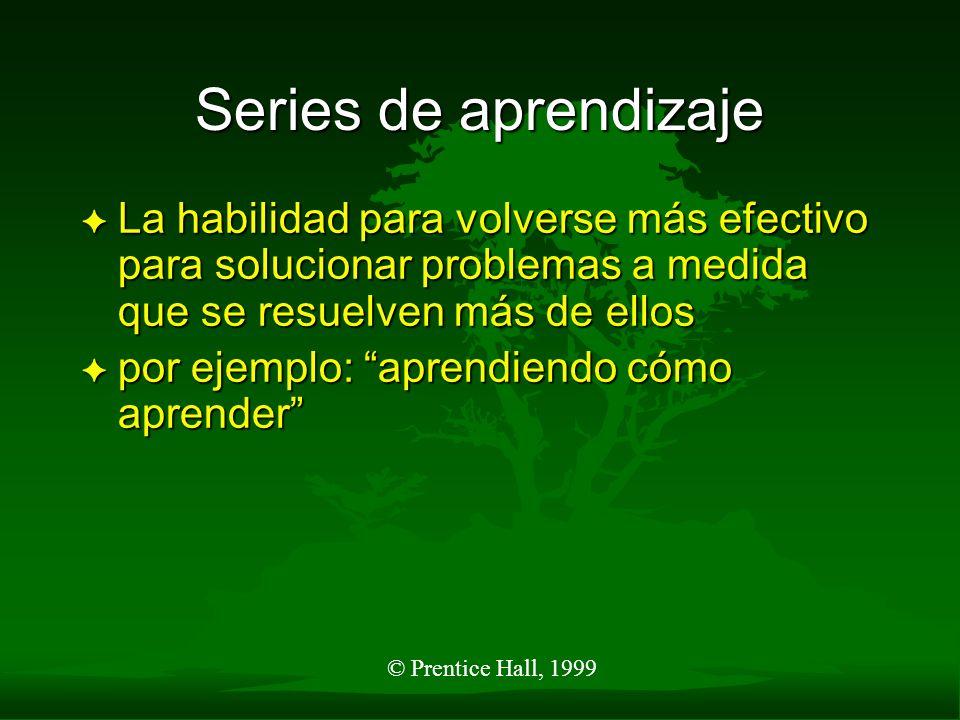 © Prentice Hall, 1999 Series de aprendizaje F La habilidad para volverse más efectivo para solucionar problemas a medida que se resuelven más de ellos