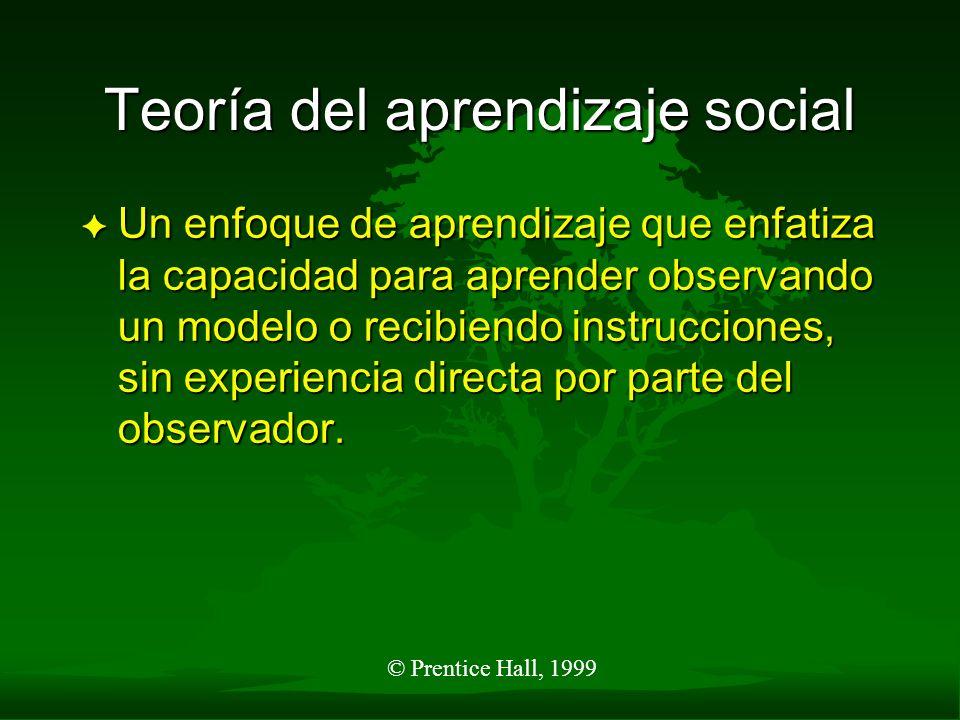 © Prentice Hall, 1999 Teoría del aprendizaje social F Un enfoque de aprendizaje que enfatiza la capacidad para aprender observando un modelo o recibie