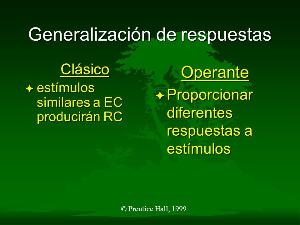 © Prentice Hall, 1999 Generalización de respuestas Clásico F estímulos similares a EC producirán RC Operante F Proporcionar diferentes respuestas a es