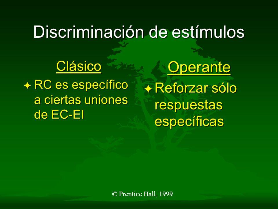 © Prentice Hall, 1999 Discriminación de estímulos Clásico F RC es específico a ciertas uniones de EC-EI Operante F Reforzar sólo respuestas específica