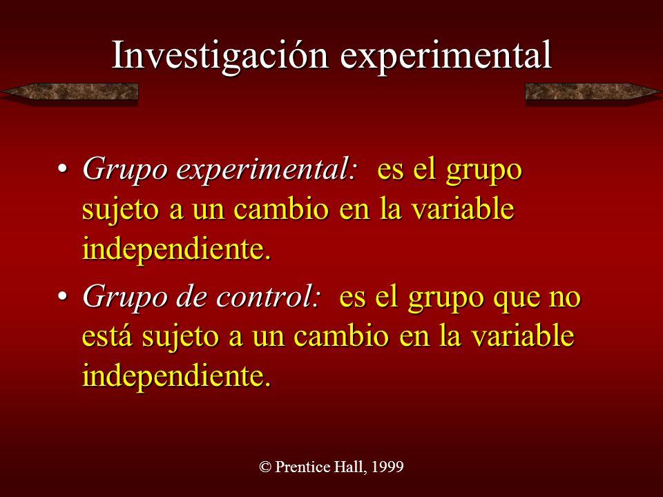 © Prentice Hall, 1999 Investigación experimental Ventajas Se pueden establecer conclusiones acerca de la casualidad.Se pueden establecer conclusiones acerca de la casualidad.