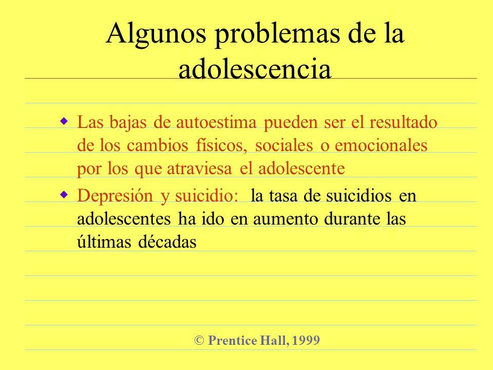 © Prentice Hall, 1999 Factores de riesgo para el suicidio juvenil Ser mujer Pensar en el suicidio Padecer un trastorno mental (por ejemplo: depresión) Tener un padre con baja escolaridad y que esté ausente del hogar