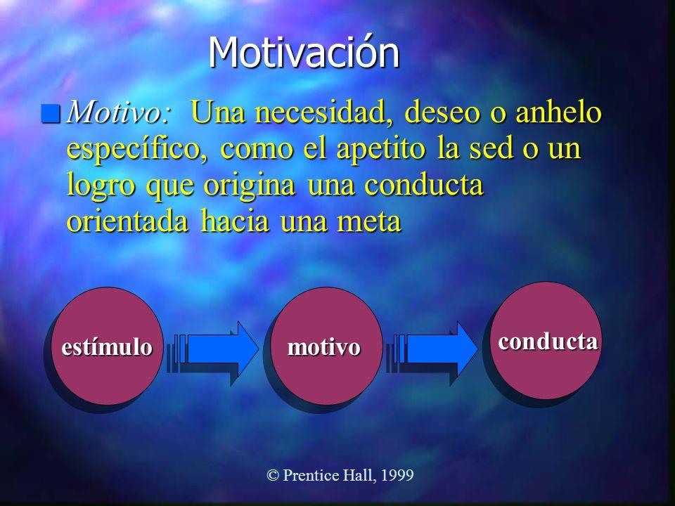 Motivación n Motivo: Una necesidad, deseo o anhelo específico, como el apetito la sed o un logro que origina una conducta orientada hacia una meta est