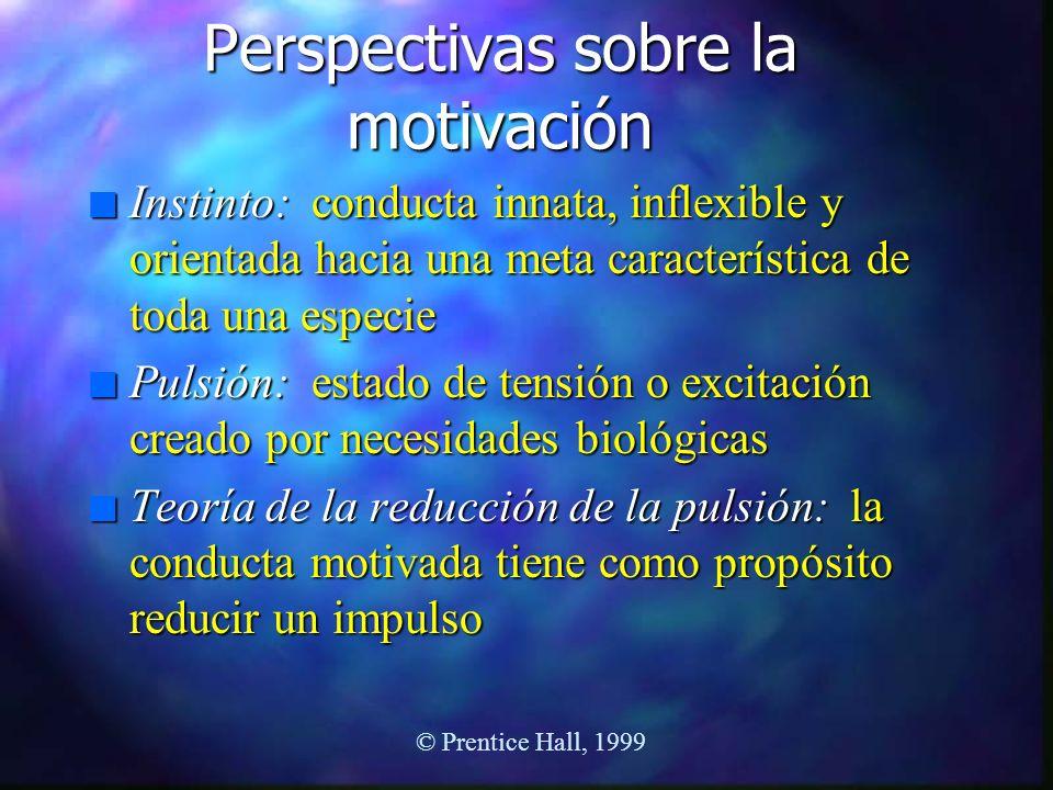 Perspectivas sobre la motivación n Instinto: conducta innata, inflexible y orientada hacia una meta característica de toda una especie n Pulsión: esta
