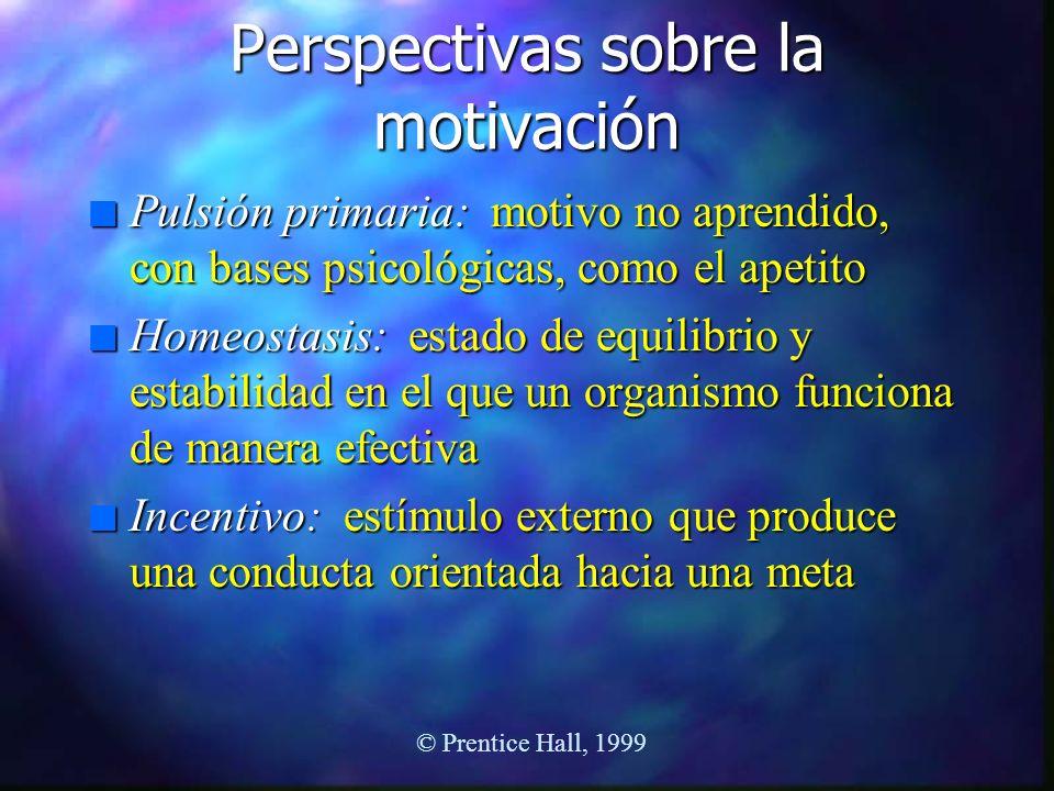 Perspectivas sobre la motivación n Pulsión primaria: motivo no aprendido, con bases psicológicas, como el apetito n Homeostasis: estado de equilibrio
