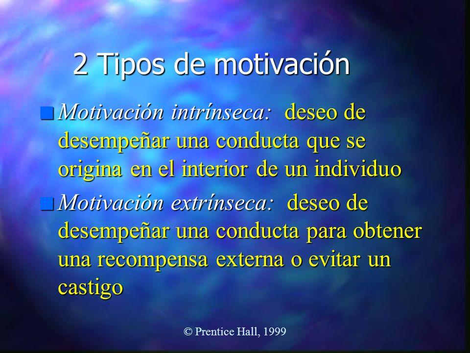 2 Tipos de motivación n Motivación intrínseca: deseo de desempeñar una conducta que se origina en el interior de un individuo n Motivación extrínseca: