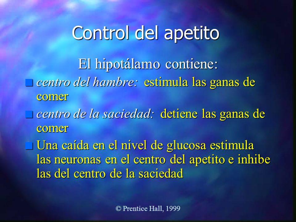 © Prentice Hall, 1999 Control del apetito El hipotálamo contiene: n centro del hambre: estimula las ganas de comer n centro de la saciedad: detiene la