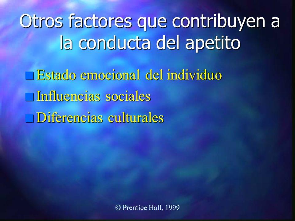 Otros factores que contribuyen a la conducta del apetito n Estado emocional del individuo n Influencias sociales n Diferencias culturales