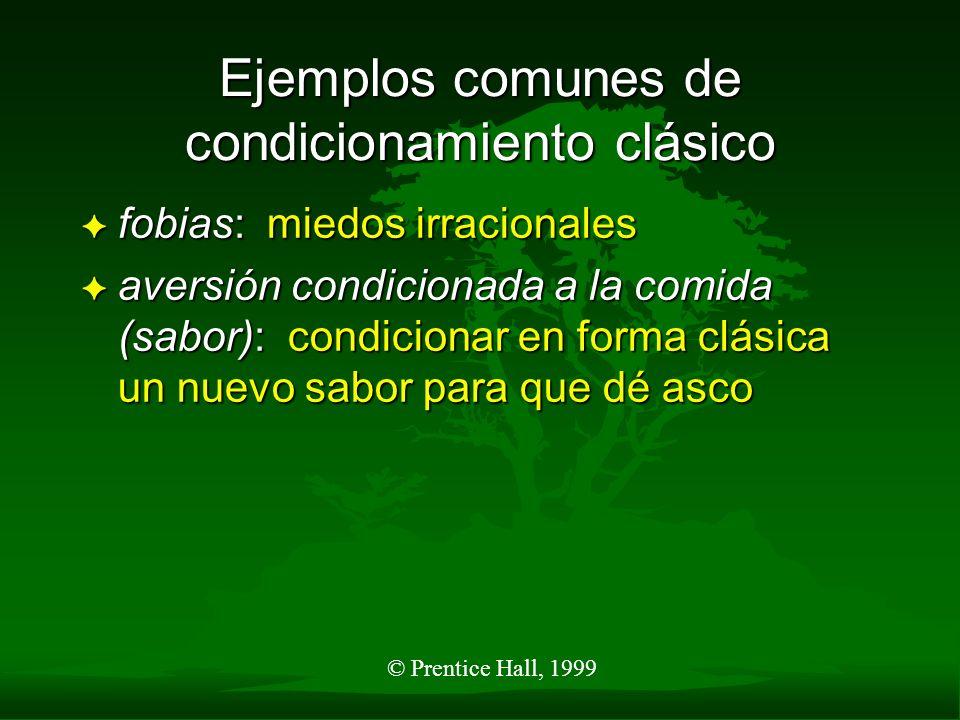 © Prentice Hall, 1999 Ejemplos comunes de condicionamiento clásico F fobias: miedos irracionales F aversión condicionada a la comida (sabor): condicio
