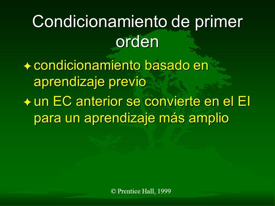 © Prentice Hall, 1999 Condicionamiento de primer orden F condicionamiento basado en aprendizaje previo F un EC anterior se convierte en el EI para un