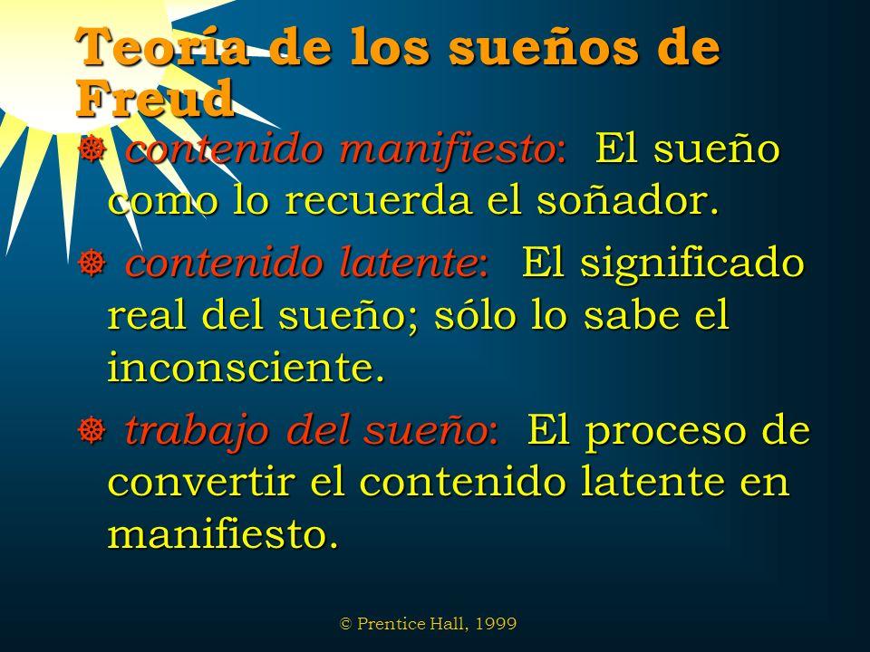 © Prentice Hall, 1999 Teoría de los sueños de Freud contenido manifiesto : El sueño como lo recuerda el soñador. contenido manifiesto : El sueño como
