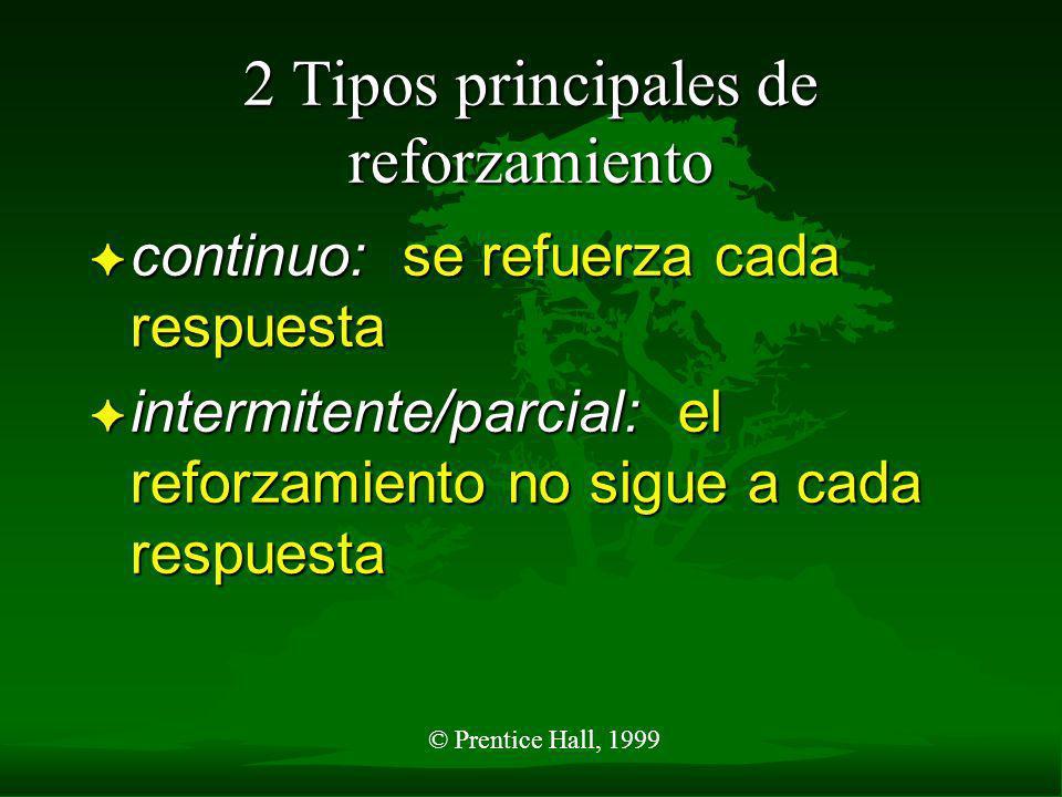 © Prentice Hall, 1999 Programa de reforzamiento F continuo F Intermitente o parcial – programa ¤ razón fija ¤ razón variable – intervalo ¤ intervalo f