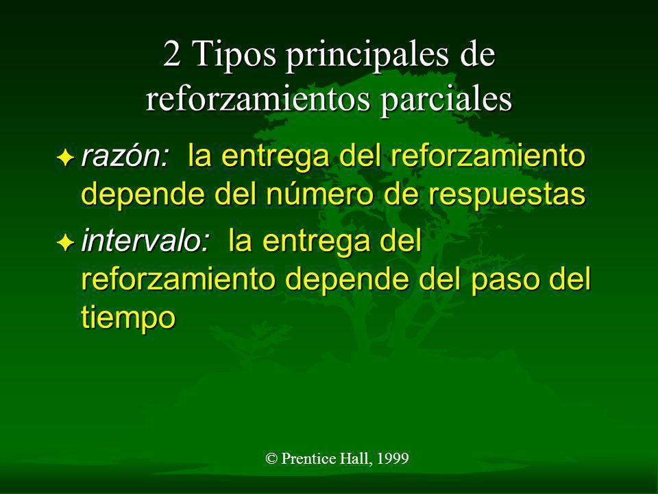 © Prentice Hall, 1999 2 Tipos principales de reforzamientos parciales F razón: la entrega del reforzamiento depende del número de respuestas F intervalo: la entrega del reforzamiento depende del paso del tiempo