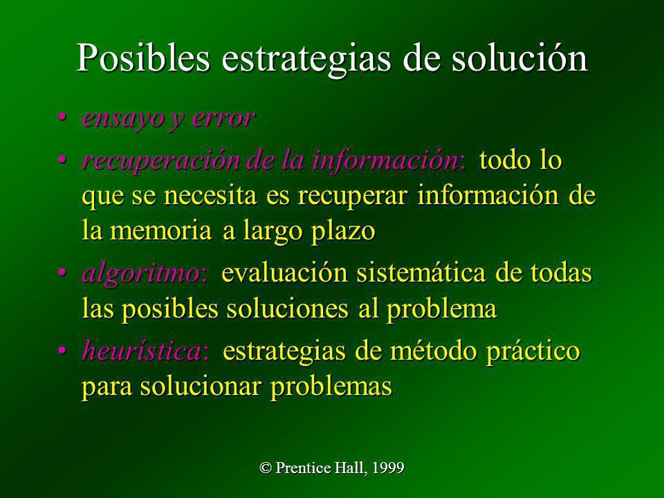 © Prentice Hall, 1999 Posibles estrategias de solución ensayo y errorensayo y error recuperación de la información: todo lo que se necesita es recuper
