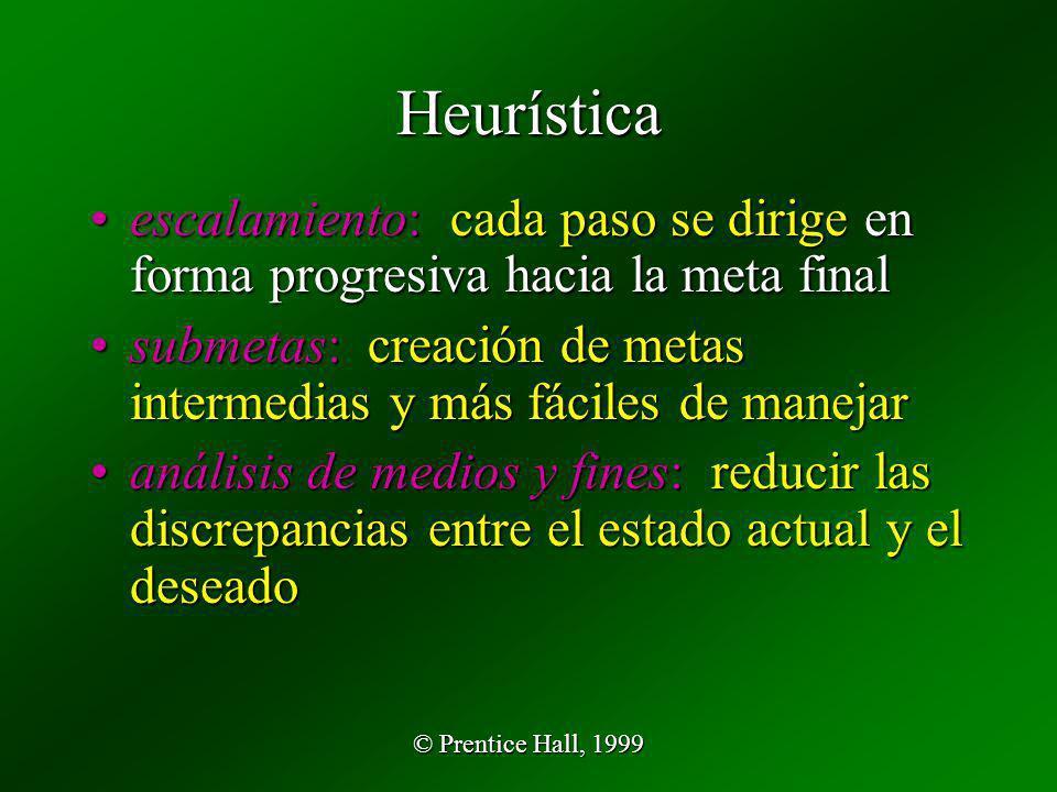 © Prentice Hall, 1999 Heurística escalamiento: cada paso se dirige en forma progresiva hacia la meta finalescalamiento: cada paso se dirige en forma p