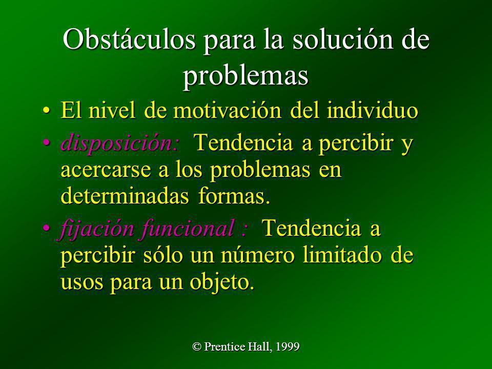 © Prentice Hall, 1999 Obstáculos para la solución de problemas El nivel de motivación del individuoEl nivel de motivación del individuo disposición: T