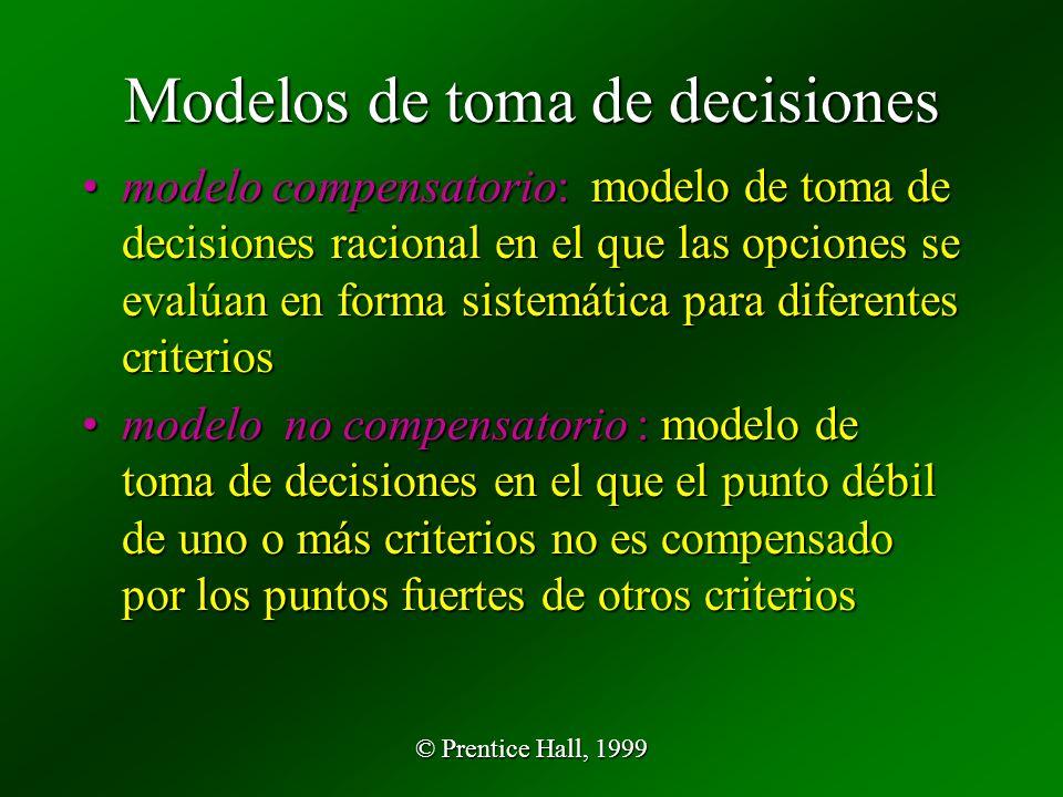 © Prentice Hall, 1999 Modelos de toma de decisiones modelo compensatorio: modelo de toma de decisiones racional en el que las opciones se evalúan en forma sistemática para diferentes criteriosmodelo compensatorio: modelo de toma de decisiones racional en el que las opciones se evalúan en forma sistemática para diferentes criterios modelo no compensatorio : modelo de toma de decisiones en el que el punto débil de uno o más criterios no es compensado por los puntos fuertes de otros criteriosmodelo no compensatorio : modelo de toma de decisiones en el que el punto débil de uno o más criterios no es compensado por los puntos fuertes de otros criterios