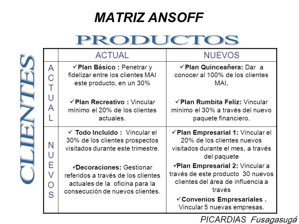 MATRIZ ANSOFF ACTUALNUEVOS ACTUALACTUAL Plan Básico : Penetrar y fidelizar entre los clientes MAI este producto, en un 30% Plan Recreativo : Vincular