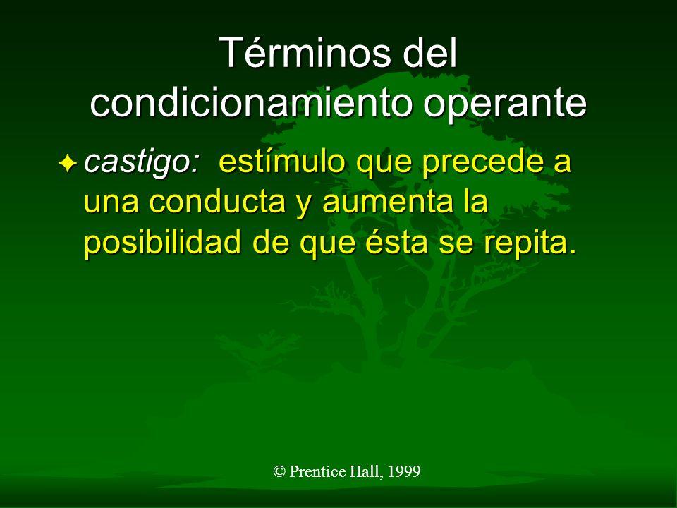 © Prentice Hall, 1999 Términos del condicionamiento operante F castigo: estímulo que precede a una conducta y aumenta la posibilidad de que ésta se re