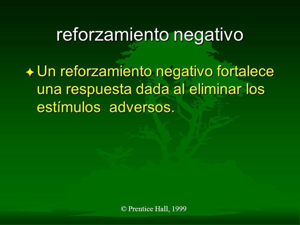 © Prentice Hall, 1999 reforzamiento negativo F Un reforzamiento negativo fortalece una respuesta dada al eliminar los estímulos adversos.