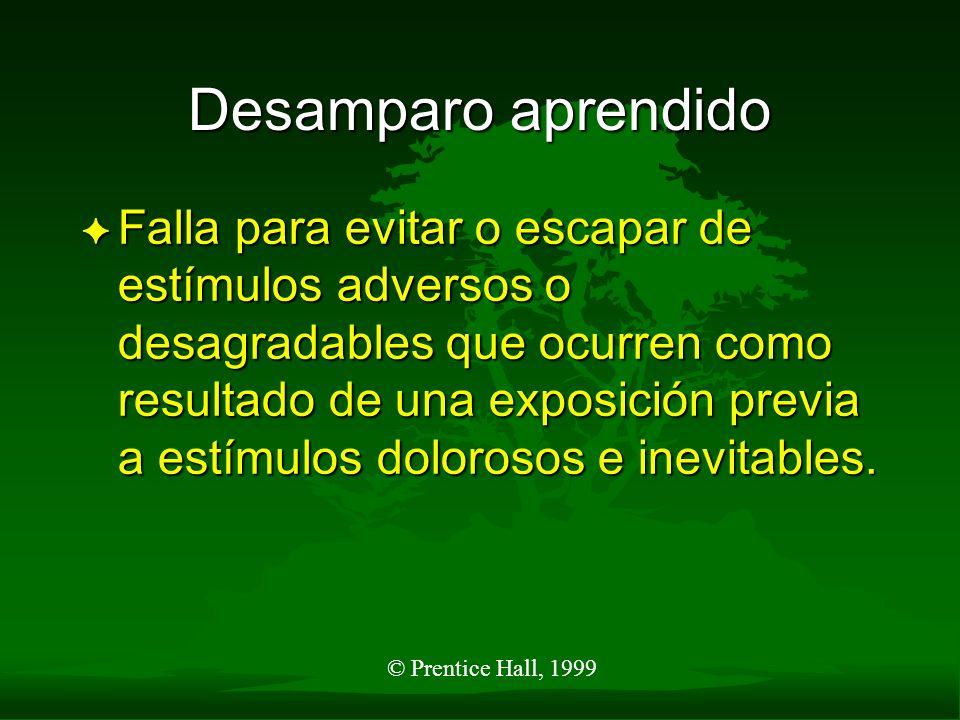 © Prentice Hall, 1999 Desamparo aprendido F Falla para evitar o escapar de estímulos adversos o desagradables que ocurren como resultado de una exposi
