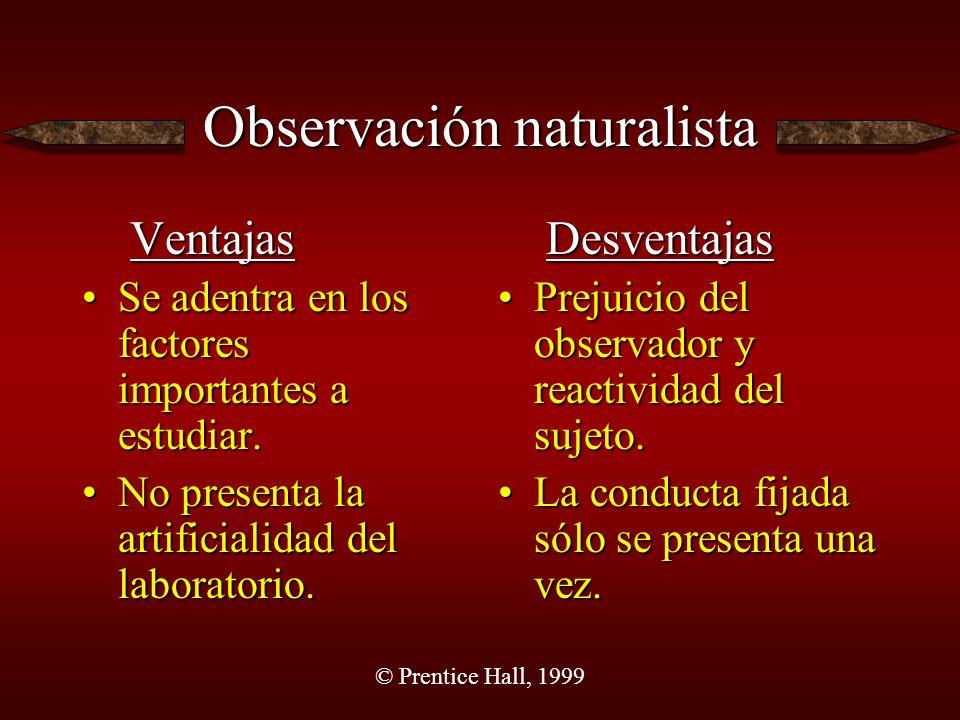 © Prentice Hall, 1999 Observación naturalista Ventajas Se adentra en los factores importantes a estudiar.Se adentra en los factores importantes a estudiar.