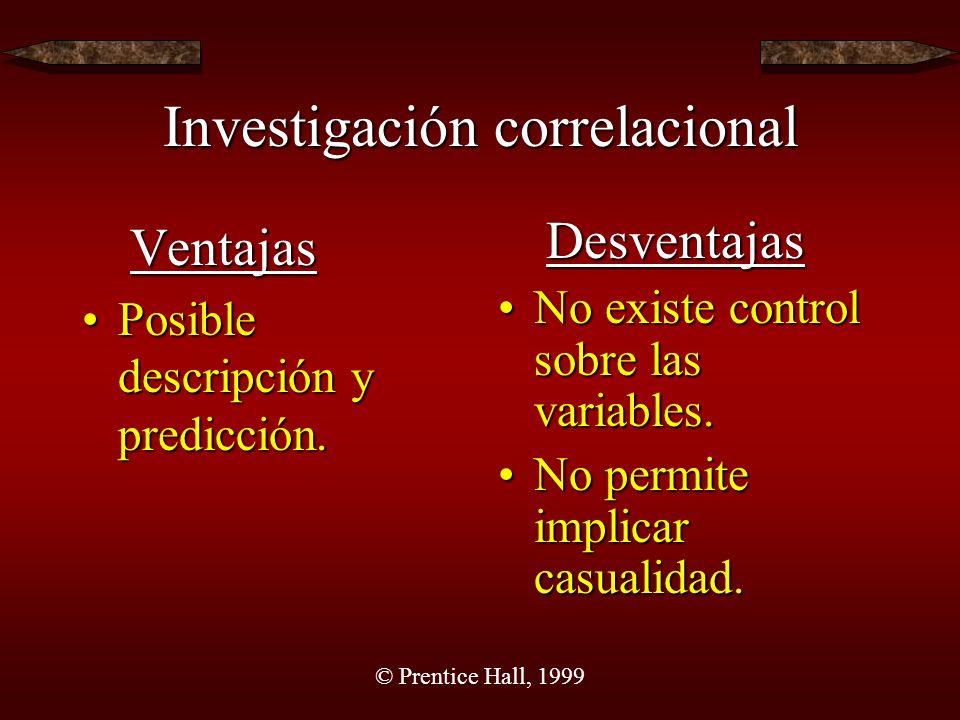 © Prentice Hall, 1999 Investigación correlacional Ventajas Posible descripción y predicción.Posible descripción y predicción.Desventajas No existe control sobre las variables.